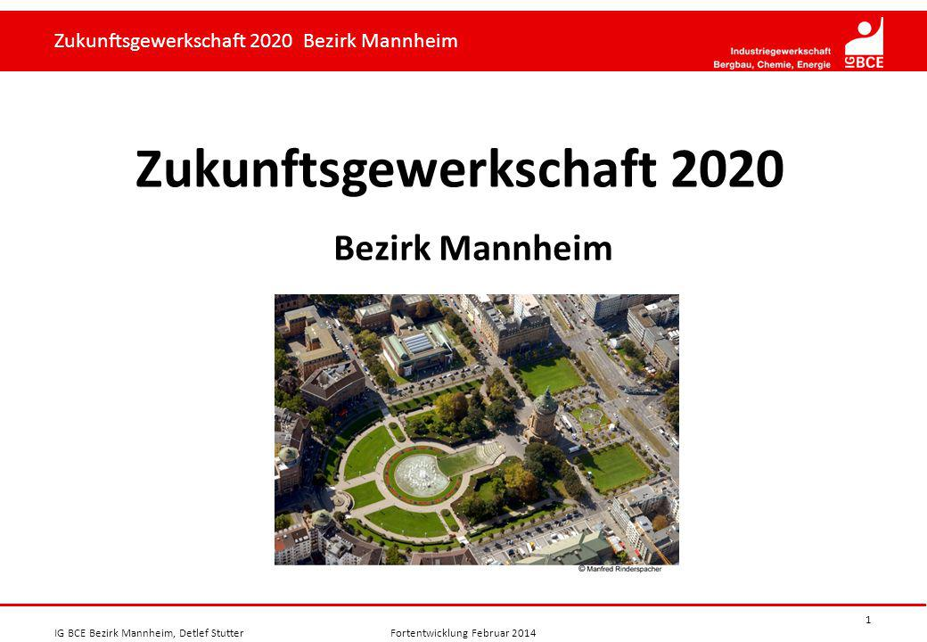 Zukunftsgewerkschaft 2020 Bezirk Mannheim Zukunftsgewerkschaft 2020 Bezirk Mannheim IG BCE Bezirk Mannheim, Detlef StutterFortentwicklung Februar 2014