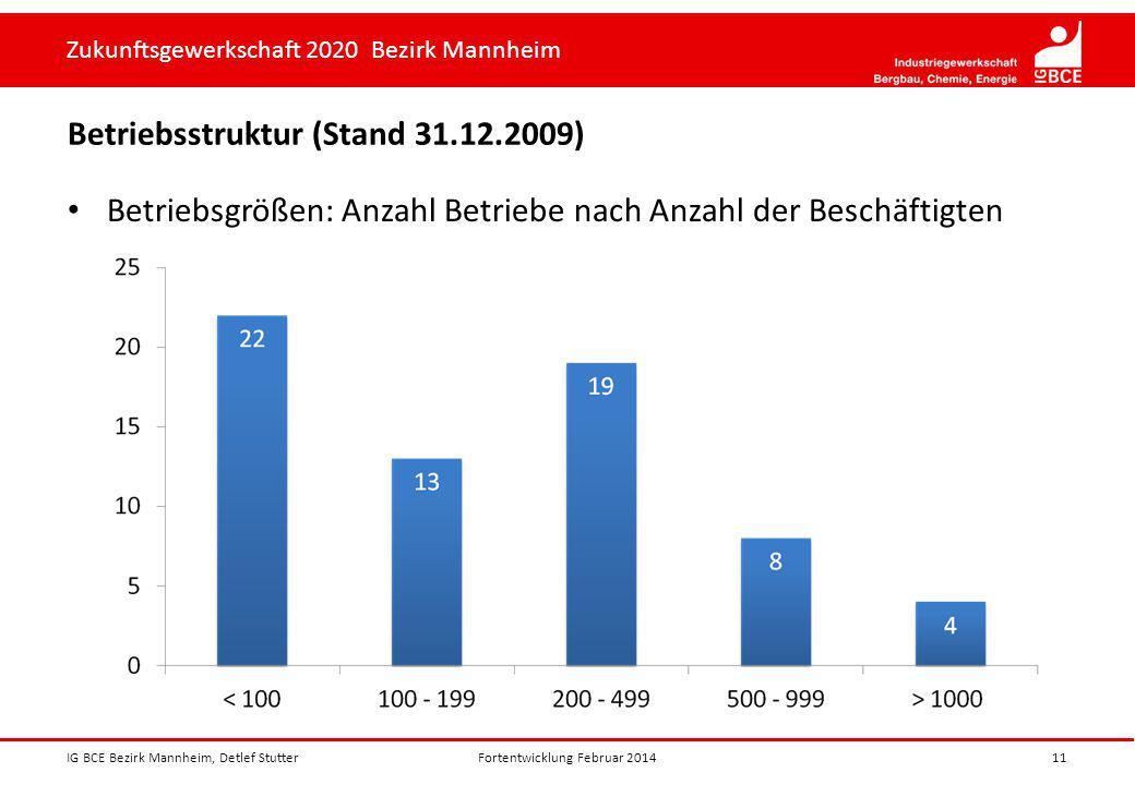 Zukunftsgewerkschaft 2020 Bezirk Mannheim Betriebsstruktur (Stand 31.12.2009) Betriebsgrößen: Anzahl Betriebe nach Anzahl der Beschäftigten IG BCE Bez