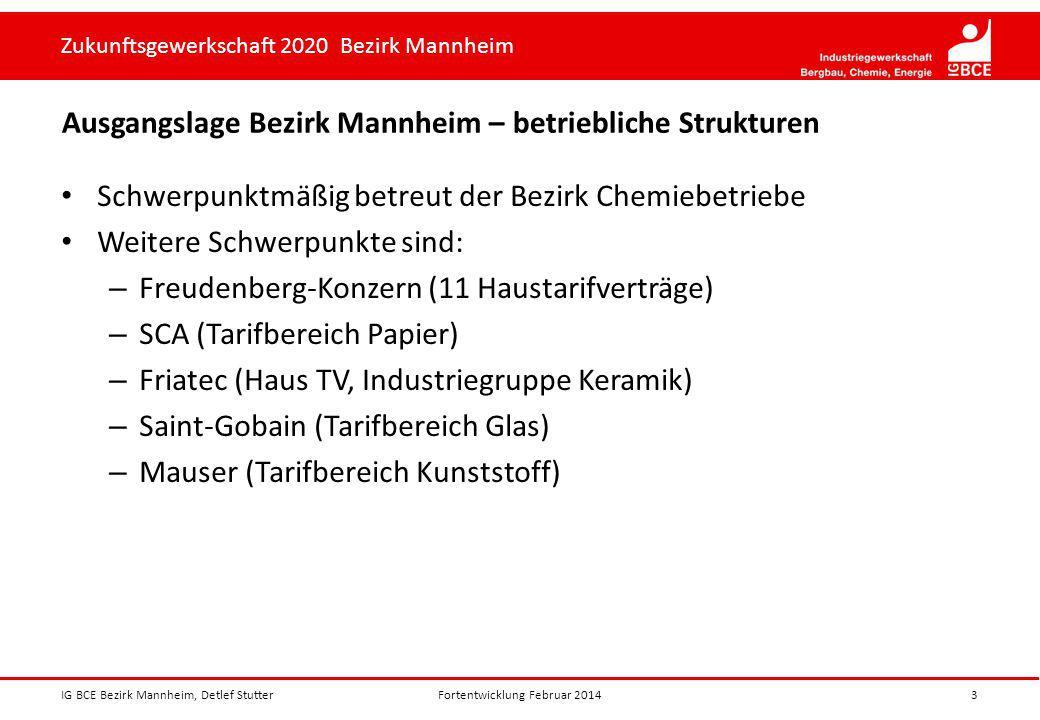 Zukunftsgewerkschaft 2020 Bezirk Mannheim Ausgangslage Bezirk Mannheim – betriebliche Strukturen Schwerpunktmäßig betreut der Bezirk Chemiebetriebe We