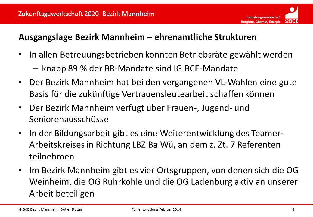 Zukunftsgewerkschaft 2020 Bezirk Mannheim Ausgangslage Bezirk Mannheim – ehrenamtliche Strukturen In allen Betreuungsbetrieben konnten Betriebsräte ge