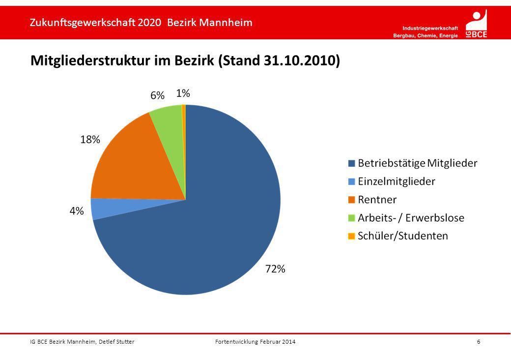 Zukunftsgewerkschaft 2020 Bezirk Mannheim Mitgliederstruktur im Bezirk (Stand 31.10.2010) IG BCE Bezirk Mannheim, Detlef Stutter6Fortentwicklung Febru