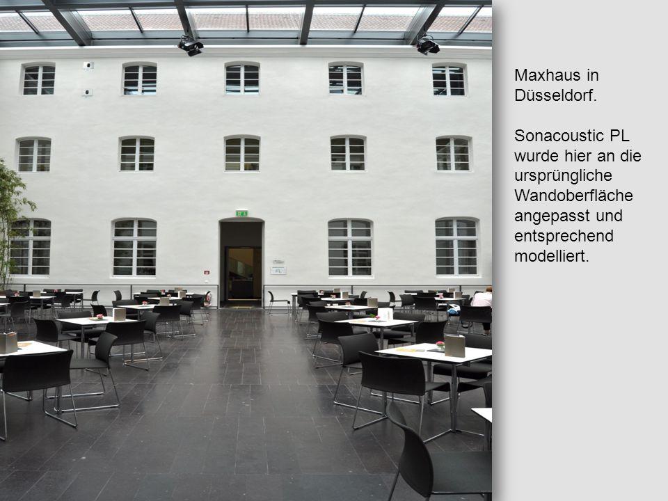 Maxhaus in Düsseldorf. Sonacoustic PL wurde hier an die ursprüngliche Wandoberfläche angepasst und entsprechend modelliert.