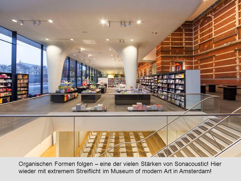 Organischen Formen folgen – eine der vielen Stärken von Sonacoustic! Hier wieder mit extremem Streiflicht im Museum of modern Art in Amsterdam!