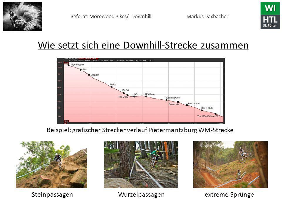 Referat: Morewood Bikes/ Downhill Markus Daxbacher Beispiel: grafischer Streckenverlauf Pietermaritzburg WM-Strecke Steinpassagen Wurzelpassagen extreme Sprünge Wie setzt sich eine Downhill-Strecke zusammen