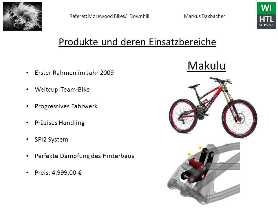 Referat: Morewood Bikes/ Downhill Markus Daxbacher Produkte und deren Einsatzbereiche Makulu Erster Rahmen im Jahr 2009 Weltcup-Team-Bike Progressives Fahrwerk Präzises Handling SPi2 System Perfekte Dämpfung des Hinterbaus Preis: 4.999,00 €