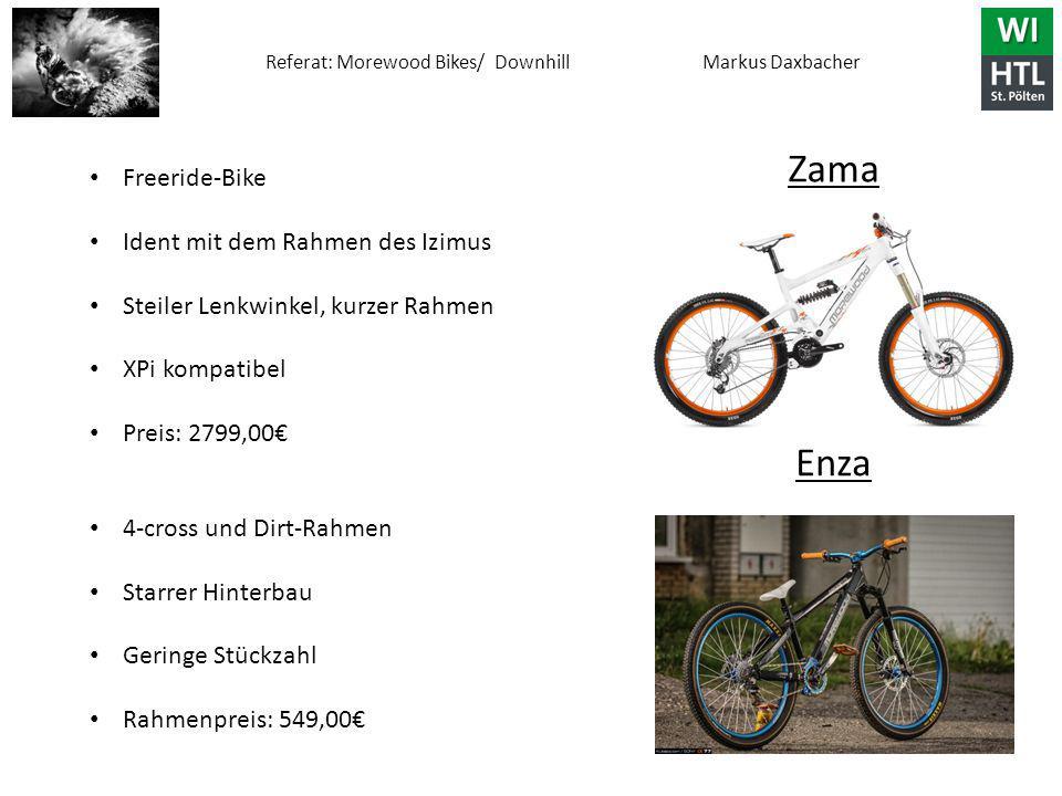 Referat: Morewood Bikes/ Downhill Markus Daxbacher Zama Enza Freeride-Bike Ident mit dem Rahmen des Izimus Steiler Lenkwinkel, kurzer Rahmen XPi kompatibel Preis: 2799,00€ 4-cross und Dirt-Rahmen Starrer Hinterbau Geringe Stückzahl Rahmenpreis: 549,00€