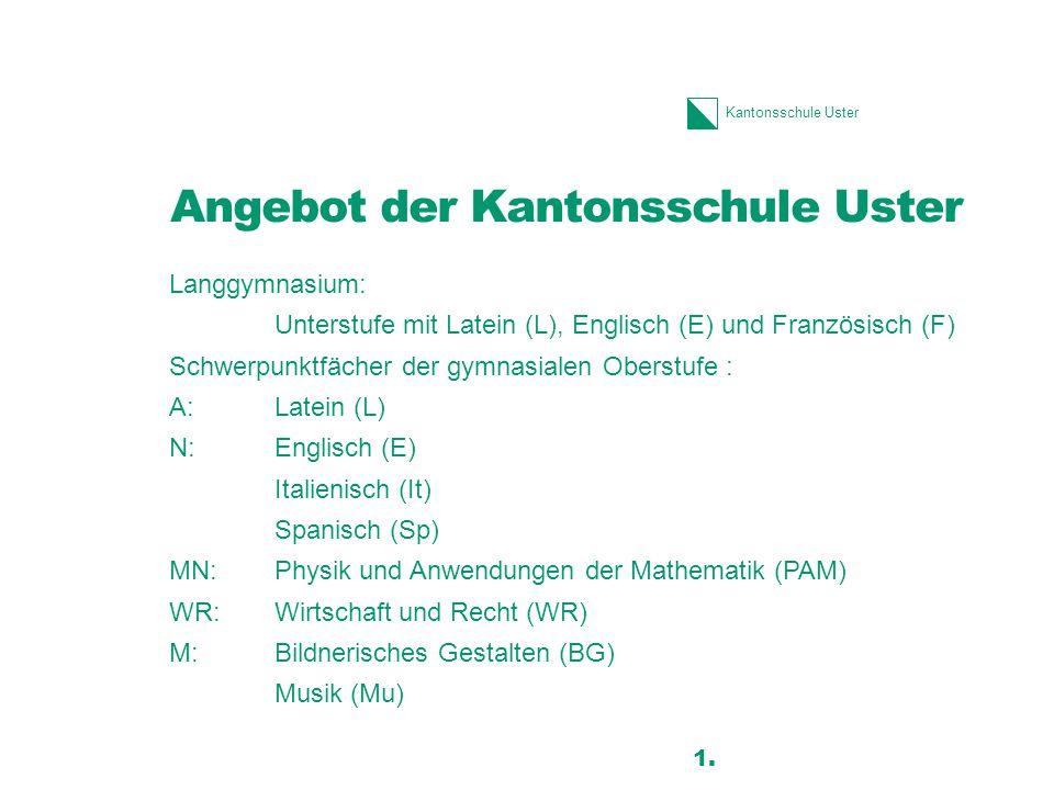 Kantonsschule Uster Angebot der Kantonsschule Uster Langgymnasium: Unterstufe mit Latein (L), Englisch (E) und Französisch (F) Schwerpunktfächer der g