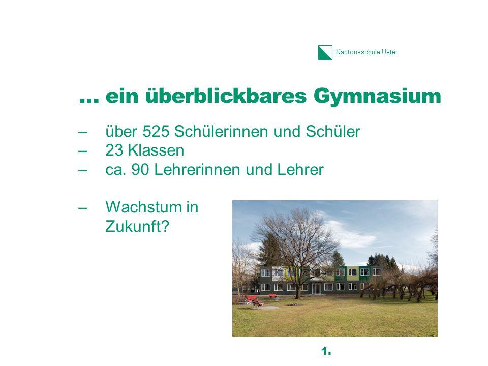 Kantonsschule Uster … ein überblickbares Gymnasium –über 525 Schülerinnen und Schüler –23 Klassen –ca. 90 Lehrerinnen und Lehrer –Wachstum in Zukunft?