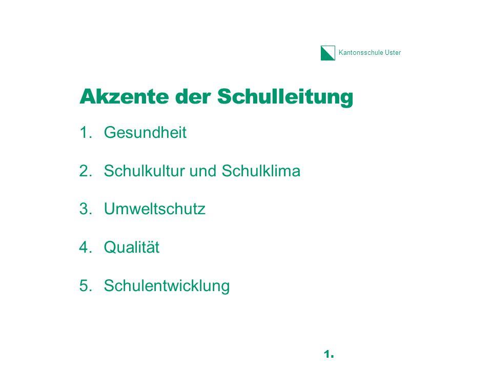 Kantonsschule Uster 1.Gesundheit 2.Schulkultur und Schulklima 3.Umweltschutz 4.Qualität 5.Schulentwicklung Akzente der Schulleitung 16 1.