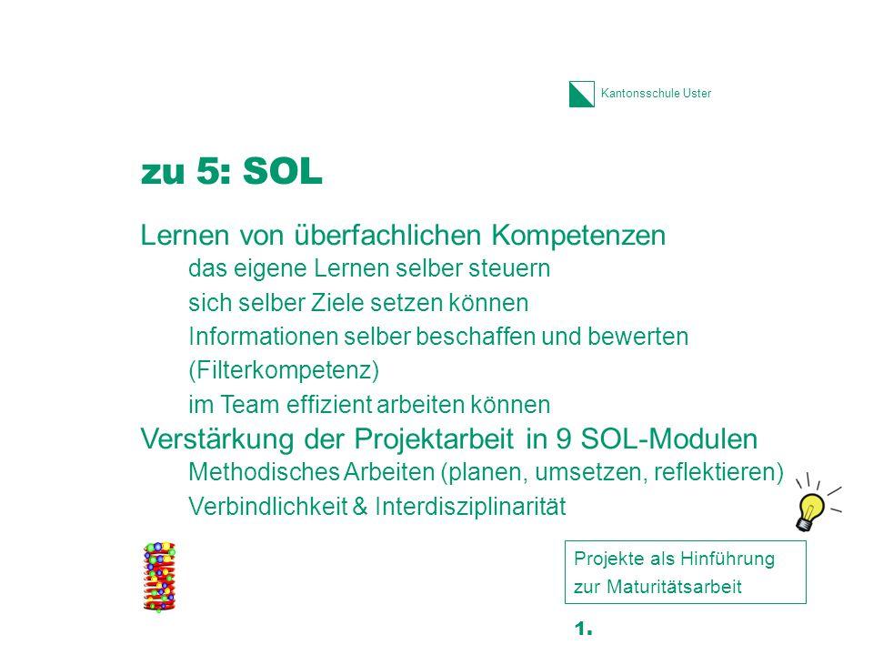 Kantonsschule Uster zu 5: SOL Lernen von überfachlichen Kompetenzen das eigene Lernen selber steuern sich selber Ziele setzen können Informationen sel