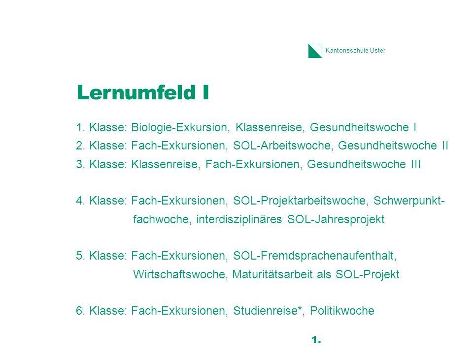 Kantonsschule Uster Lernumfeld I 1. Klasse: Biologie-Exkursion, Klassenreise, Gesundheitswoche I 2. Klasse: Fach-Exkursionen, SOL-Arbeitswoche, Gesund