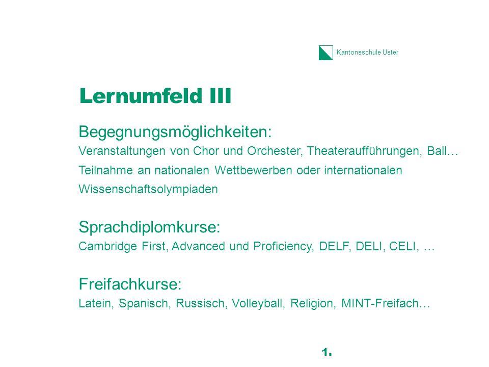 Kantonsschule Uster Lernumfeld III Begegnungsmöglichkeiten: Veranstaltungen von Chor und Orchester, Theateraufführungen, Ball… Teilnahme an nationalen