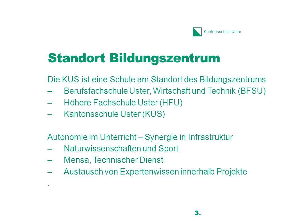 Kantonsschule Uster Standort Bildungszentrum Die KUS ist eine Schule am Standort des Bildungszentrums –Berufsfachschule Uster, Wirtschaft und Technik