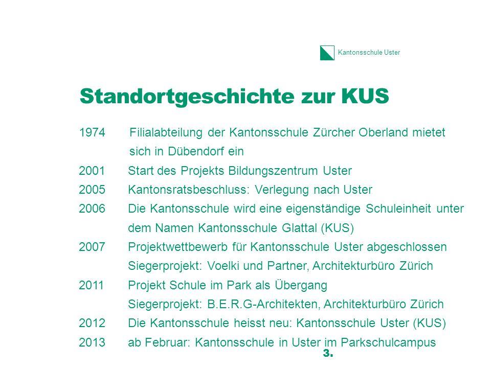 Kantonsschule Uster Standortgeschichte zur KUS 1974Filialabteilung der Kantonsschule Zürcher Oberland mietet sich in Dübendorf ein 2001Start des Proje