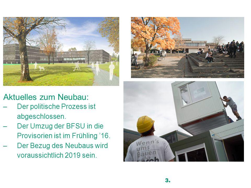 Kantonsschule Uster Aktuelles zum Neubau: –Der politische Prozess ist abgeschlossen. –Der Umzug der BFSU in die Provisorien ist im Frühling '16. –Der