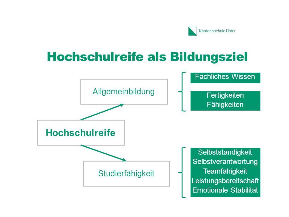 Kantonsschule Uster Hochschulreife als Bildungsziel Fachliches Wissen Fertigkeiten Fähigkeiten Selbstständigkeit Selbstverantwortung Teamfähigkeit Lei