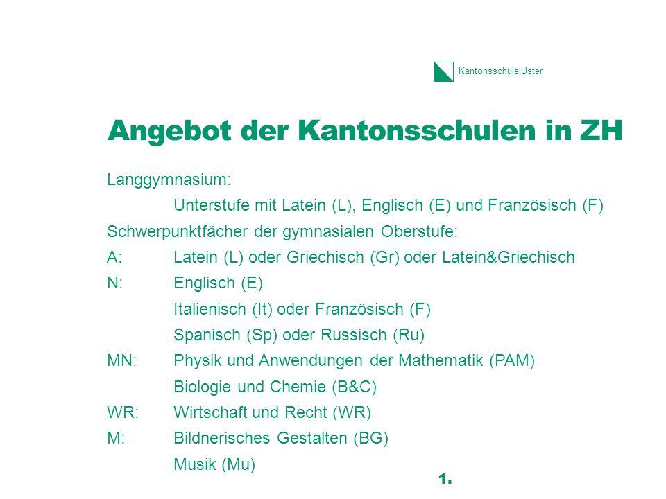 Kantonsschule Uster Angebot der Kantonsschulen in ZH Langgymnasium: Unterstufe mit Latein (L), Englisch (E) und Französisch (F) Schwerpunktfächer der