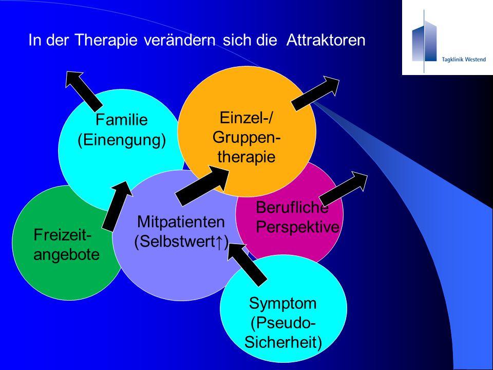 Freizeit- angebote Familie (Einengung) Mitpatienten (Selbstwert↑) Berufliche Perspektive In der Therapie verändern sich die Attraktoren Einzel-/ Grupp