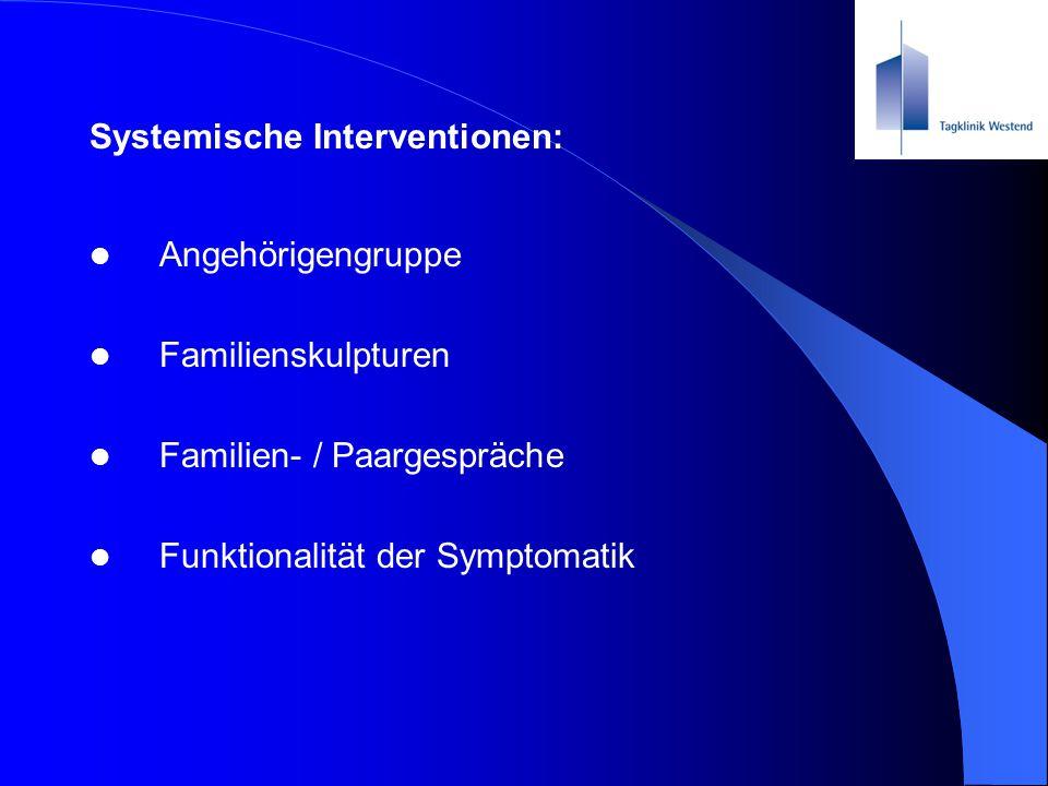 Systemische Interventionen: Angehörigengruppe Familienskulpturen Familien- / Paargespräche Funktionalität der Symptomatik