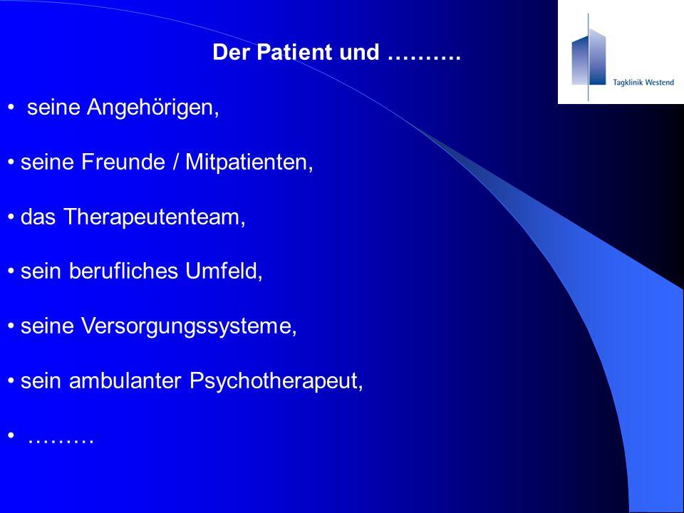 Der Patient und ………. seine Angehörigen, seine Freunde / Mitpatienten, das Therapeutenteam, sein berufliches Umfeld, seine Versorgungssysteme, sein amb