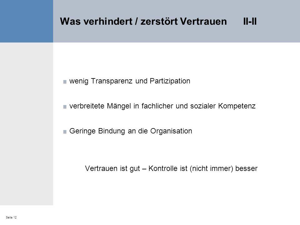 Seite 12 Was verhindert / zerstört Vertrauen II-II wenig Transparenz und Partizipation verbreitete Mängel in fachlicher und sozialer Kompetenz Geringe