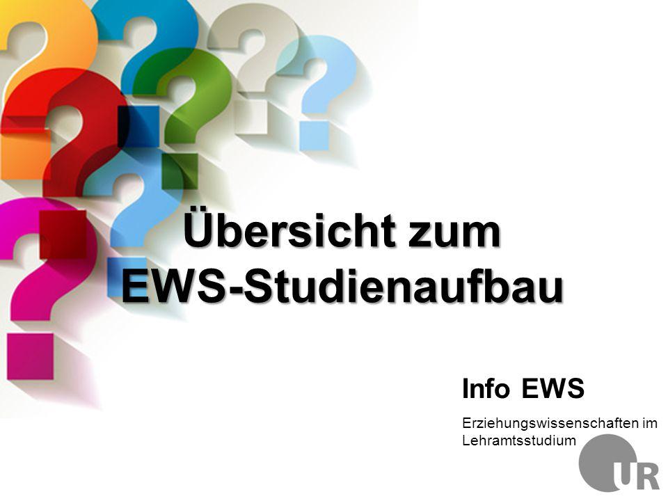 Übersicht zum EWS-Studienaufbau Info EWS Erziehungswissenschaften im Lehramtsstudium