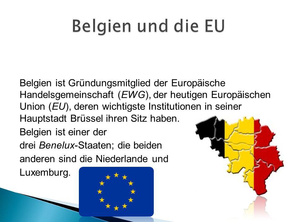 Belgien ist Gründungsmitglied der Europäische Handelsgemeinschaft (EWG), der heutigen Europäischen Union (EU), deren wichtigste Institutionen in seine
