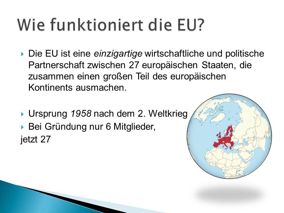  Die EU ist eine einzigartige wirtschaftliche und politische Partnerschaft zwischen 27 europäischen Staaten, die zusammen einen großen Teil des europ