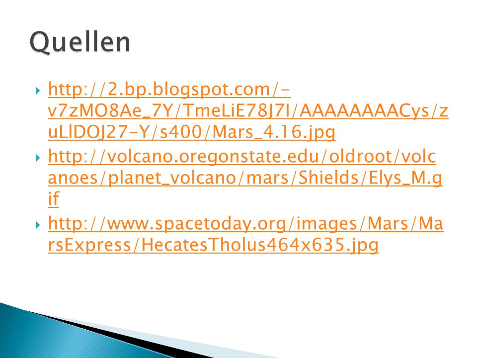  http://2.bp.blogspot.com/- v7zMO8Ae_7Y/TmeLiE78J7I/AAAAAAAACys/z uLlDOJ27-Y/s400/Mars_4.16.jpg http://2.bp.blogspot.com/- v7zMO8Ae_7Y/TmeLiE78J7I/AAAAAAAACys/z uLlDOJ27-Y/s400/Mars_4.16.jpg  http://volcano.oregonstate.edu/oldroot/volc anoes/planet_volcano/mars/Shields/Elys_M.g if http://volcano.oregonstate.edu/oldroot/volc anoes/planet_volcano/mars/Shields/Elys_M.g if  http://www.spacetoday.org/images/Mars/Ma rsExpress/HecatesTholus464x635.jpg http://www.spacetoday.org/images/Mars/Ma rsExpress/HecatesTholus464x635.jpg