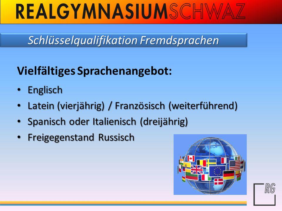 Schlüsselqualifikation Fremdsprachen Vielfältiges Sprachenangebot: Englisch Englisch Latein (vierjährig) / Französisch (weiterführend) Latein (vierjäh