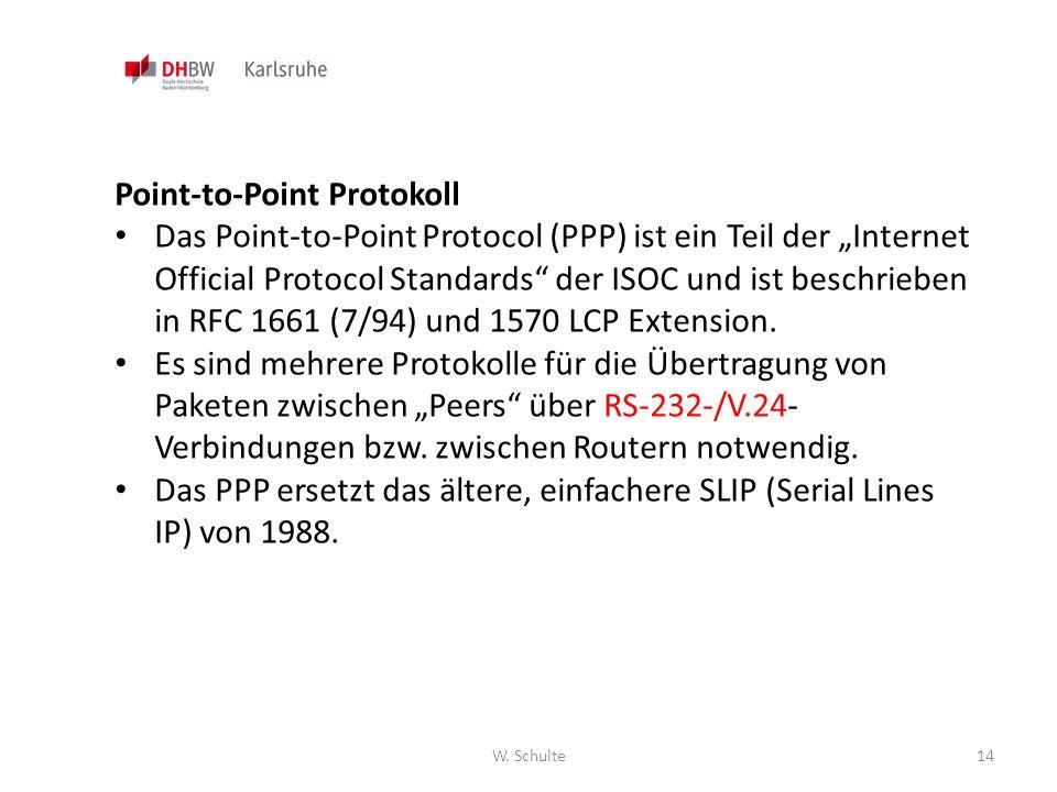 """W. Schulte14 Point-to-Point Protokoll Das Point-to-Point Protocol (PPP) ist ein Teil der """"Internet Official Protocol Standards"""" der ISOC und ist besch"""