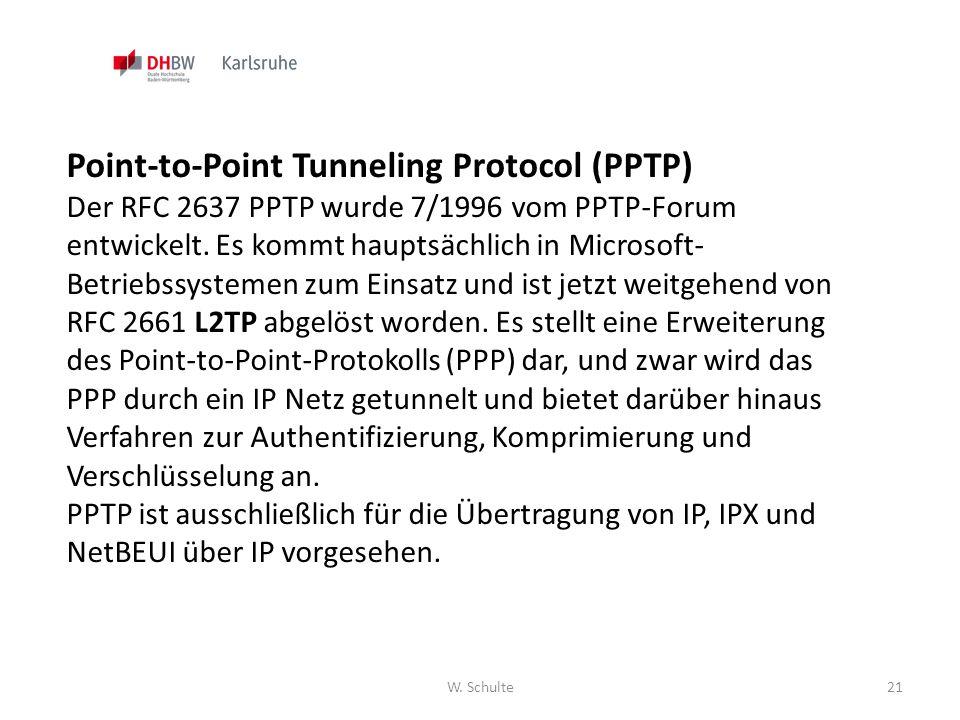 W. Schulte21 Point-to-Point Tunneling Protocol (PPTP) Der RFC 2637 PPTP wurde 7/1996 vom PPTP-Forum entwickelt. Es kommt hauptsächlich in Microsoft- B