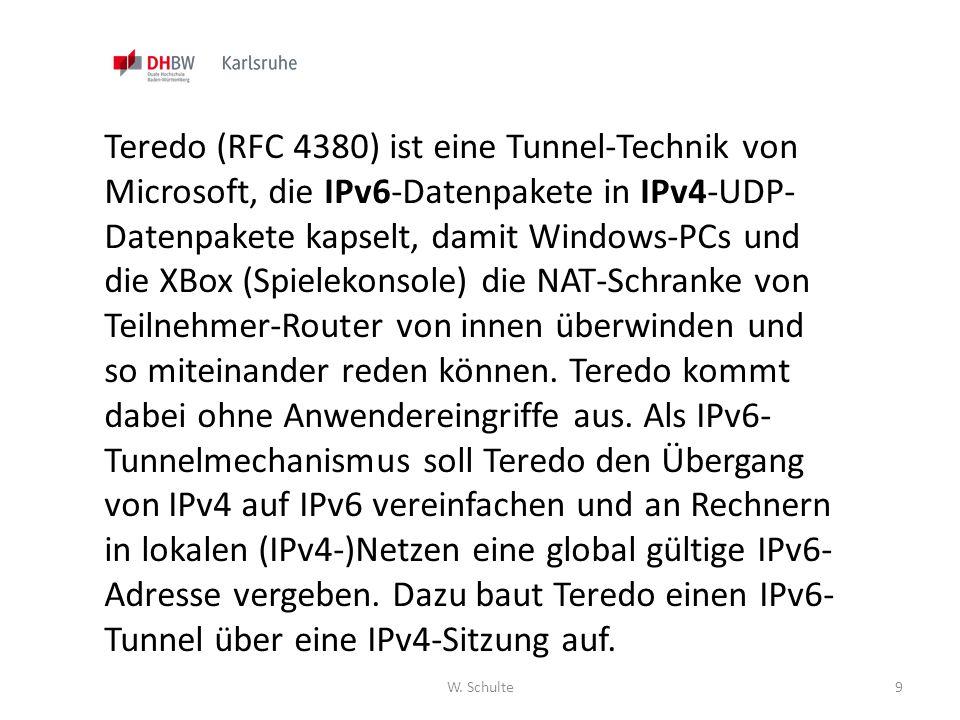 W. Schulte9 Teredo (RFC 4380) ist eine Tunnel-Technik von Microsoft, die IPv6-Datenpakete in IPv4-UDP- Datenpakete kapselt, damit Windows-PCs und die