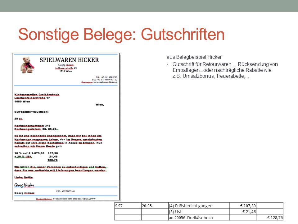 Sonstige Belege: Gutschriften aus Belegbeispiel Hicker Gutschrift für Retourwaren... Rücksendung von Emballagen...oder nachträgliche Rabatte wie z.B.