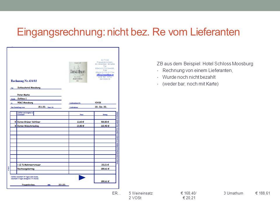 Eingangsrechnung: nicht bez. Re vom Lieferanten ZB aus dem Beispiel: Hotel Schloss Moosburg Rechnung von einem Lieferanten, Wurde noch nicht bezahlt (