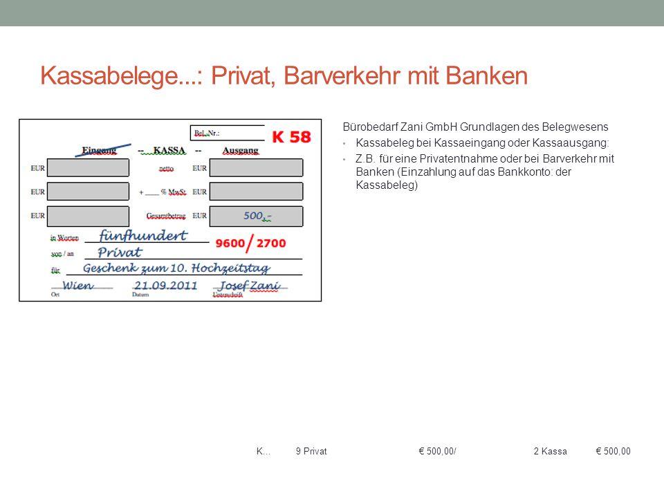 Kassabelege...: Privat, Barverkehr mit Banken Bürobedarf Zani GmbH Grundlagen des Belegwesens Kassabeleg bei Kassaeingang oder Kassaausgang: Z.B. für