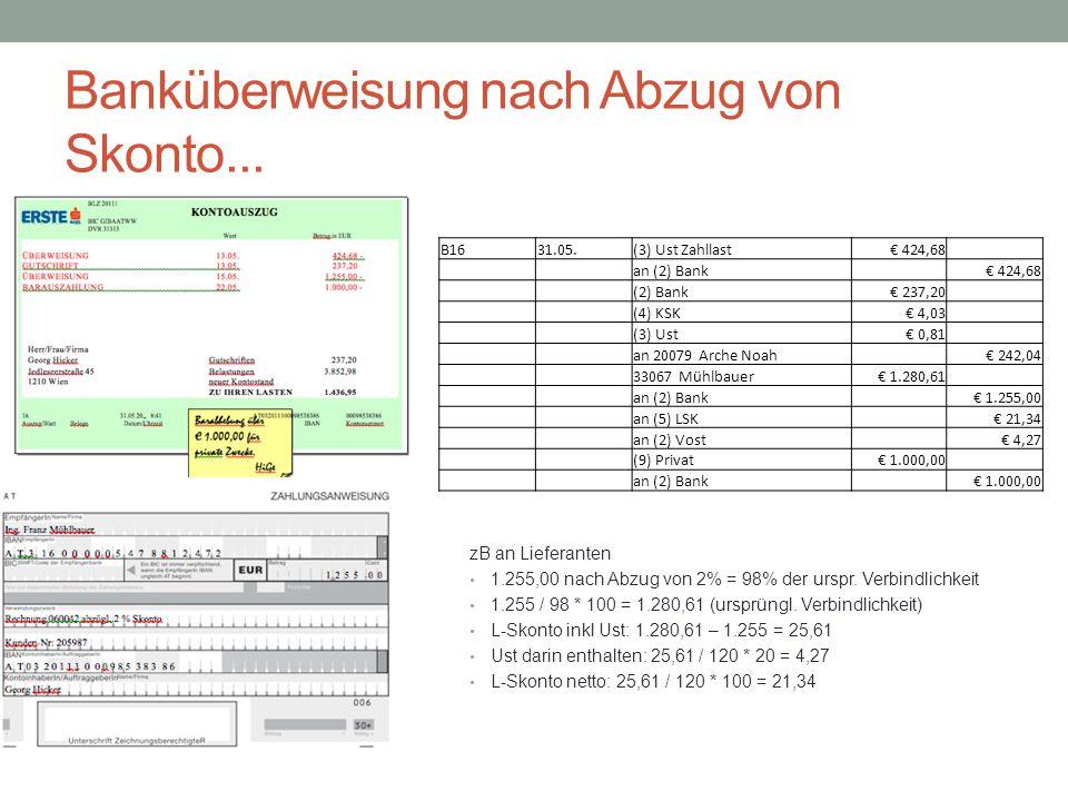 Banküberweisung nach Abzug von Skonto... B1631.05.(3) Ust Zahllast € 424,68 an (2) Bank € 424,68 (2) Bank € 237,20 (4) KSK € 4,03 (3) Ust € 0,81 an 20