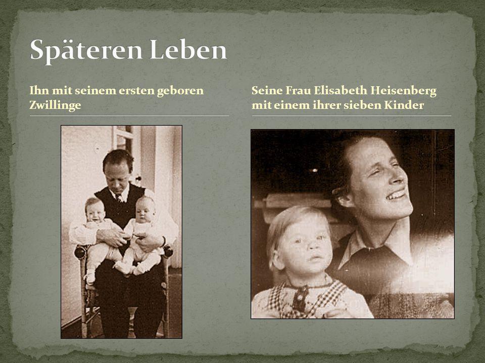 Ihn mit seinem ersten geboren Zwillinge Seine Frau Elisabeth Heisenberg mit einem ihrer sieben Kinder