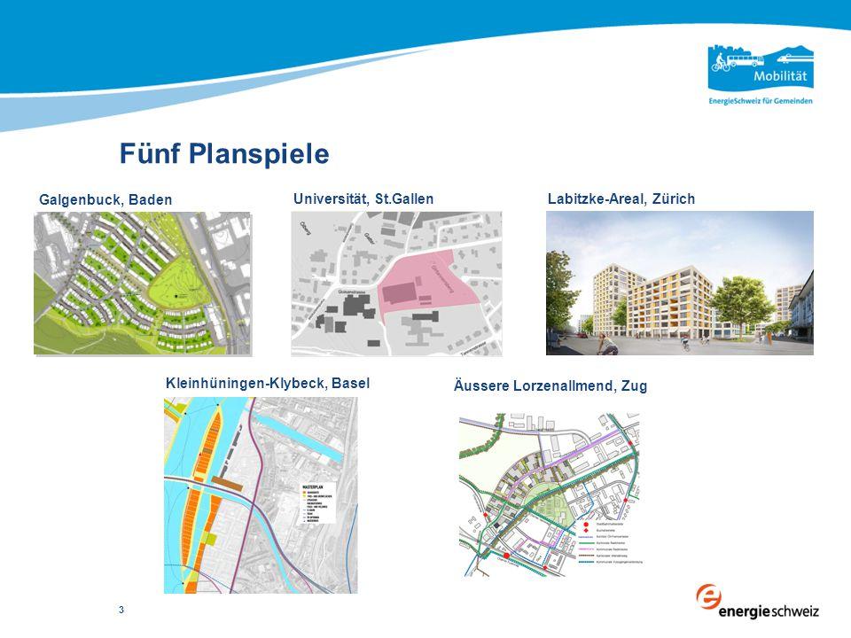 Fünf Planspiele 3 Galgenbuck, Baden Äussere Lorzenallmend, Zug Labitzke-Areal, Zürich Kleinhüningen-Klybeck, Basel Universität, St.Gallen