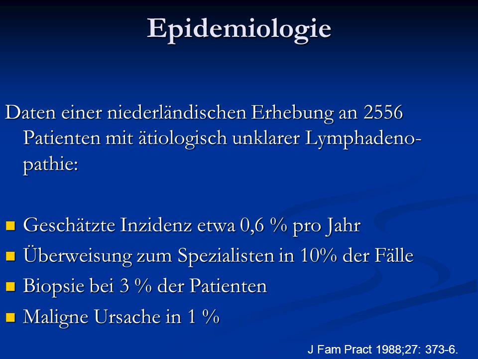 Epidemiologie Daten einer niederländischen Erhebung an 2556 Patienten mit ätiologisch unklarer Lymphadeno- pathie: Geschätzte Inzidenz etwa 0,6 % pro