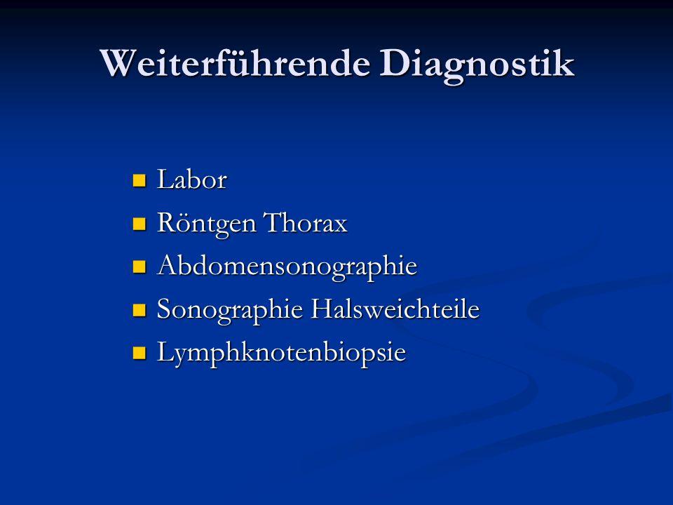 Weiterführende Diagnostik Labor Labor Röntgen Thorax Röntgen Thorax Abdomensonographie Abdomensonographie Sonographie Halsweichteile Sonographie Halsw