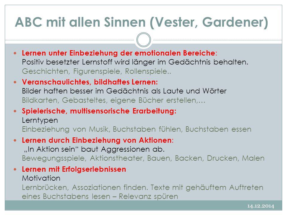 ABC mit allen Sinnen (Vester, Gardener) Lernen unter Einbeziehung der emotionalen Bereiche : Positiv besetzter Lernstoff wird länger im Gedächtnis beh