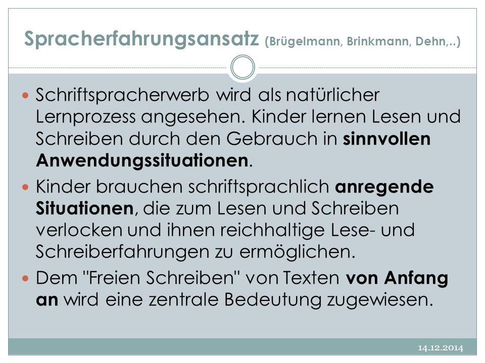 Spracherfahrungsansatz (Brügelmann, Brinkmann, Dehn,..) Schriftspracherwerb wird als natürlicher Lernprozess angesehen. Kinder lernen Lesen und Schrei