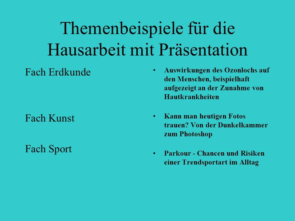Themenbeispiele für die Hausarbeit mit Präsentation Fach Erdkunde Fach Kunst Fach Sport Auswirkungen des Ozonlochs auf den Menschen, beispielhaft aufg