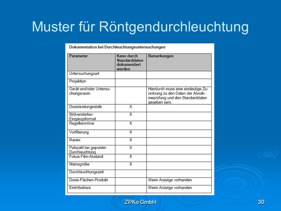 ZPKo GmbH29 Röntgendurchleuchtung   Durchleuchtungszeit kann entfallen bei Dosisflächenprodukt   Dosisleistungsstufe   BV-Format   Regelkennlinie   Pulsfrequenz   Dosis-Flächen-Produkt   Eintrittsdosis (wenn ermittelt)
