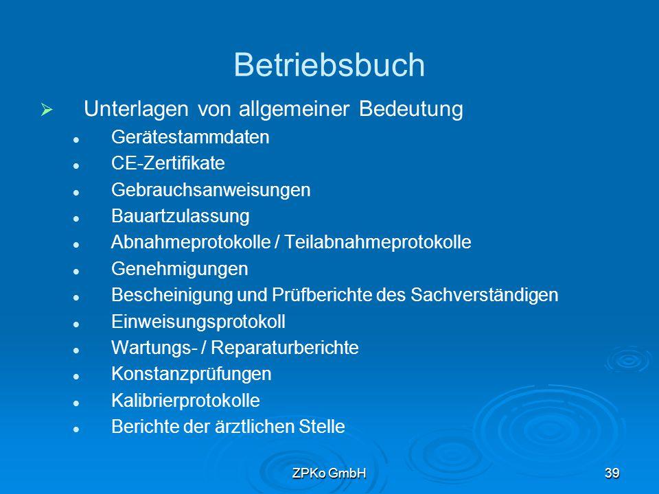 ZPKo GmbH38 Aufbewahrung von Standarddaten   Empfehlung Aufbewahrung im Betriebsbuch