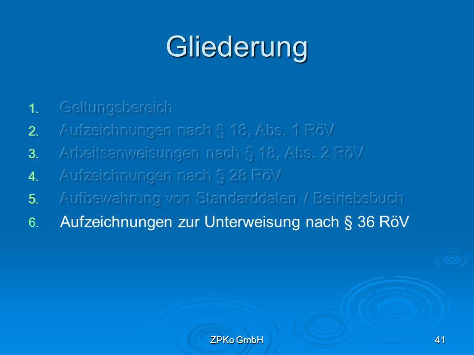 ZPKo GmbH40 Betriebsbuch   Zusätzlich bei Röntgenstrahlenbehandlung Abnahmeprotokolle nach § 17 RöV Ergebnisse der Dosisleistungsmessungen   Empfehlungen zur Führung des Betriebsbuches nach den Prinzipien des QM (DIN ISO 9000 ff) Loseblattsammlung DIN A 4 mit Inhaltsverzeichnis Aufbewahrung bei der Anlage mindestens bis zur Stilllegung