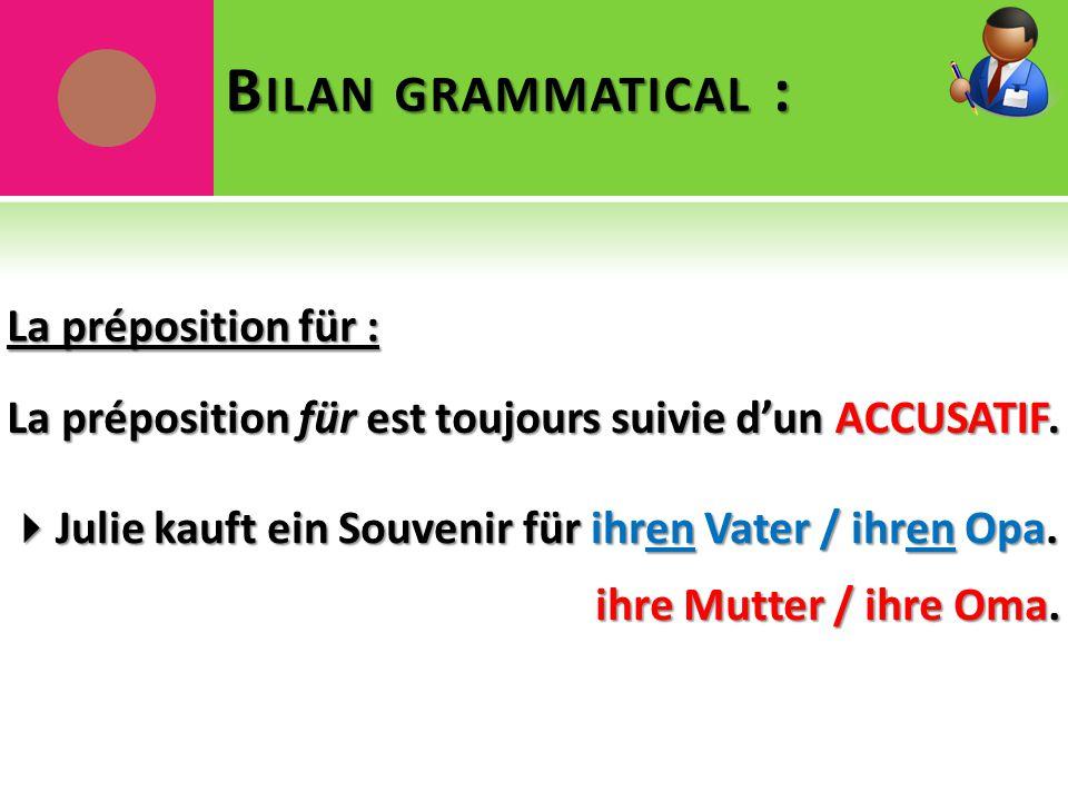 B ILAN GRAMMATICAL : La préposition für : La préposition für est toujours suivie d'un ACCUSATIF.