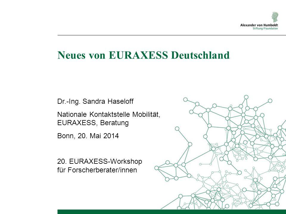 Neues von EURAXESS Deutschland Dr.-Ing. Sandra Haseloff Nationale Kontaktstelle Mobilität, EURAXESS, Beratung Bonn, 20. Mai 2014 20. EURAXESS-Workshop