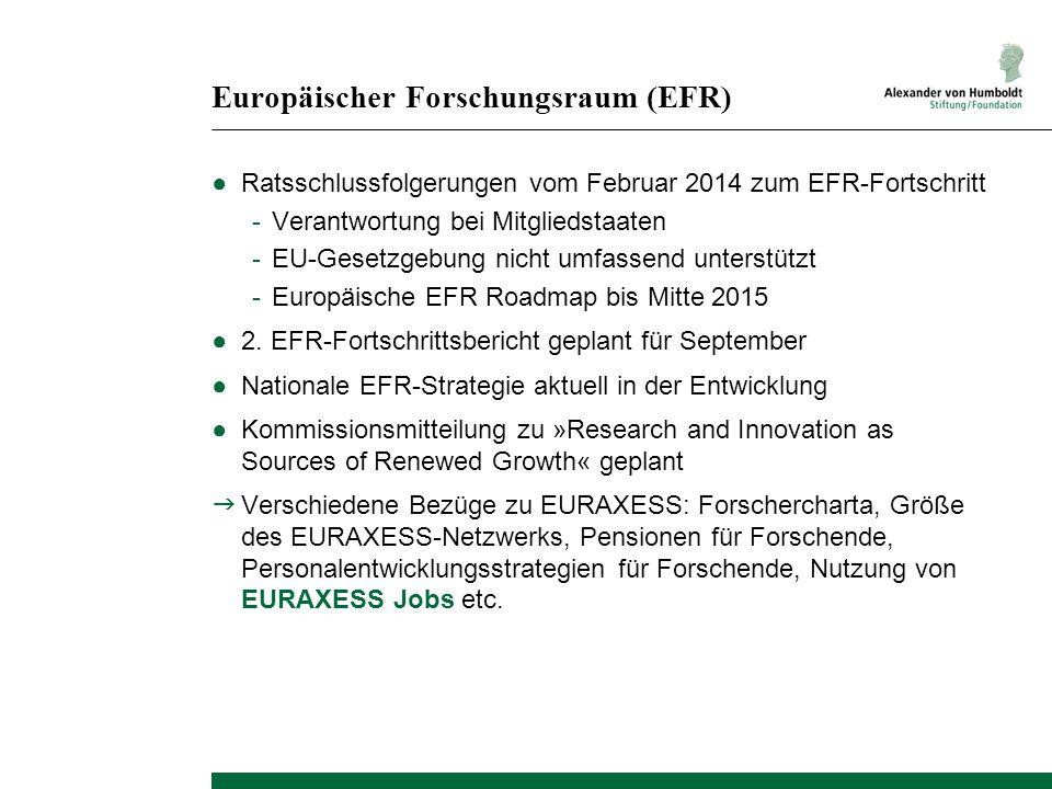Europäischer Forschungsraum (EFR) ●Ratsschlussfolgerungen vom Februar 2014 zum EFR-Fortschritt -Verantwortung bei Mitgliedstaaten -EU-Gesetzgebung nic